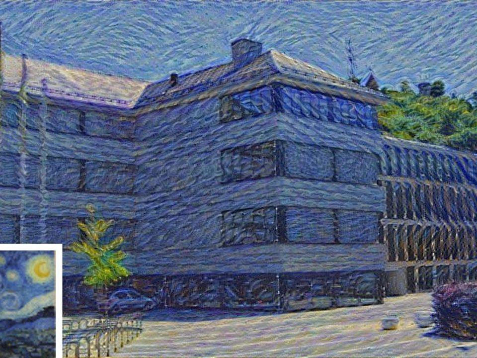 """Aus einem Stilbild (""""Sternennacht"""") und einem Eingabebild (Campus Tuttlingen) erzeugt das neuronale Netz ein Bild der Eingabeszene in diesem Stil."""